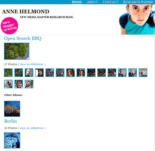 WordPress and photos 5: Flickr photo album plugins - Anne Helmond