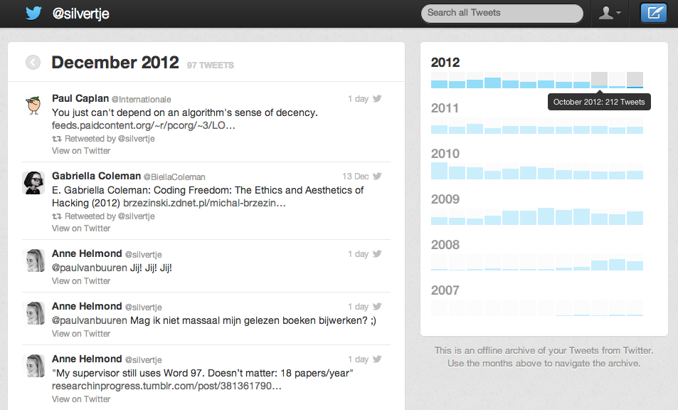 Twitter data available in CSV and JSON with a nice HTML view – Anne
