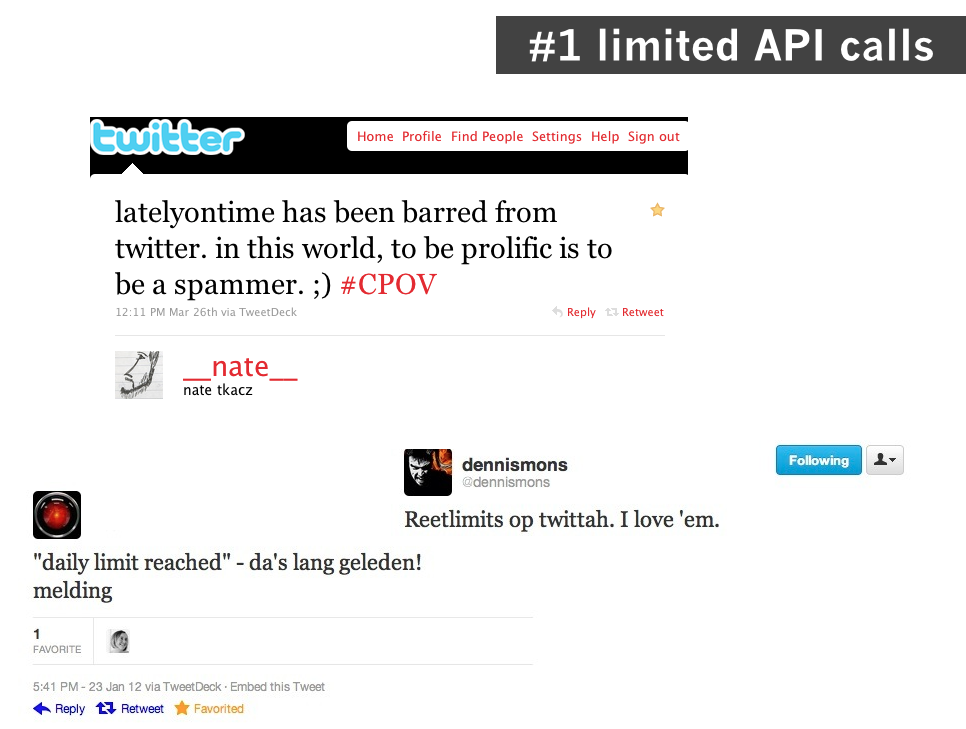 quality design 83f09 3d926 Collection of Twitter users commenting on Twitter s rate limits. Slide from  my 2012 API critiques lecture.